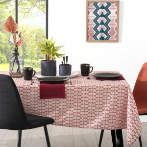 Nappe rectangulaire anti tache (L240 cm) Exotiq Rouge
