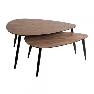 Lot de 2 tables basses Mileo Marron