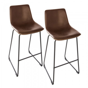 Lot de 2 tabourets de bar Lois Marron