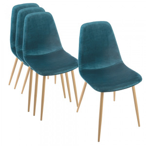 Lot de 4 chaise Roka Velours Bleu canard