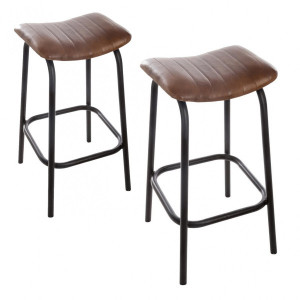 Lot de 2 tabourets de bar en cuir Chic Marron
