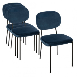 Lot de 4 chaises Velours Talia Bleues