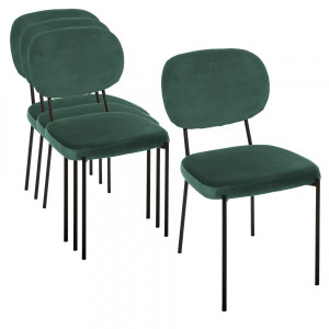 Lot de 4 chaises Velours Talia Vertes
