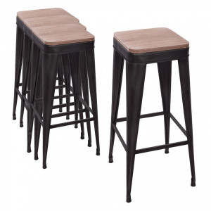 Lot de 4 tabourets de bar Joris Noir