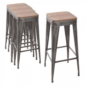 Lot de 4 tabourets de bar Joris Gris