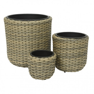 Lot de 3 pots ronds Murcia - Naturel