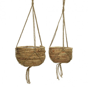 Lot de 2 Porte-plantes Panier Naturel