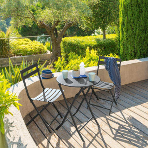 Table de jardin ronde pliante Métal Greensboro (D60 cm) - Graphite