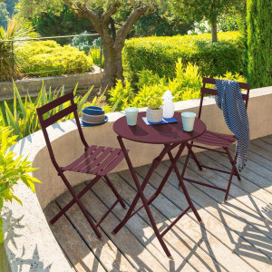 Table de jardin ronde pliante Métal Greensboro (D60 cm) - Bordeaux