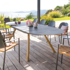 Table de jardin extensible ovale Aluminium Rubby - Gris graphite