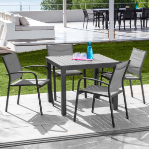 Table de jardin 4 places Aluminium Murano (89 x 89 cm) - Gris Anthracite