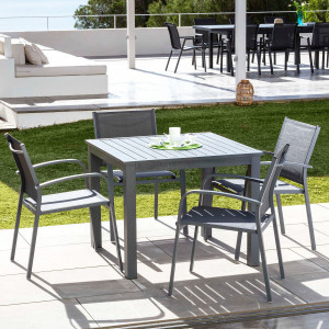 Table de jardin 4 places Aluminium Murano (89 x 89 cm) - Gris ardoise