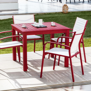 Table de jardin 4 places Aluminium Murano (89 x 89 cm) - Rouge
