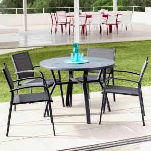 Table de jardin 5 places Aluminium Murano (D105 cm) - Gris anthracite
