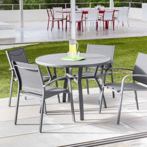 Table de jardin 5 places Aluminium Murano (D105 cm) - Gris ardoise