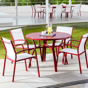 Table de jardin 5 places Aluminium Murano (D105 cm) - Rouge