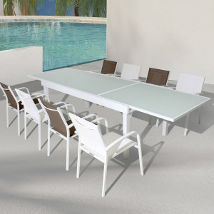 Table de jardin extensible 10 places en verre Murano (270 x 90 cm) - Blanche
