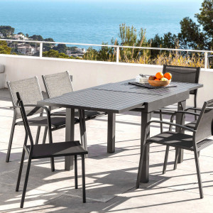 Table de jardin extensible 8 places Aluminium Murano (180 x 90 cm) - Gris anthracite