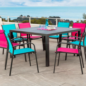 Table de jardin 8 places Aluminium Murano (136 x 136 cm) - Gris anthracite