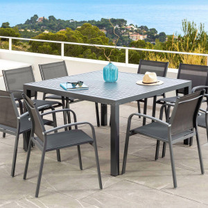 Table de jardin 8 places Aluminium Murano (136 x 136 cm) - Gris ardoise
