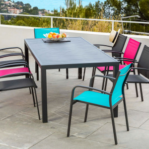 Table de jardin 8 places Aluminium Murano (210 x 100 cm) - Gris anthracite