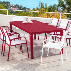 Table de jardin 8 places Aluminium Murano (210 x 100 cm) - Rouge
