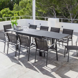 Table de jardin extensible 10 places Aluminium Murano (270 x 90 cm) - Gris anthracite