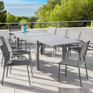 Table de jardin extensible 10 places Aluminium Murano (270 x 90 cm) - Gris ardoise