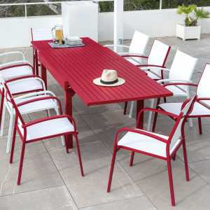 Table de jardin extensible 10 places Aluminium Murano (270 x 90 cm) - Rouge