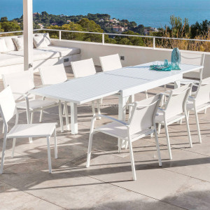 Table de jardin extensible 12 places Aluminium Murano (320 x 100 cm) - Blanche