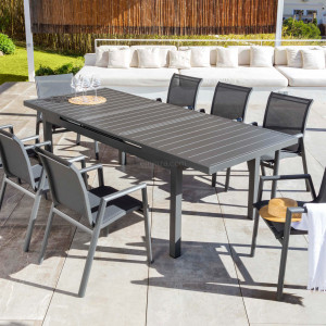 Table de jardin extensible 10 places Aluminium Corfu (245 x 100 cm) - Gris anthracite