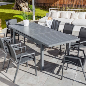 Table de jardin extensible 10 places Aluminium Corfu (245 x 100 cm) - Gris ardoise