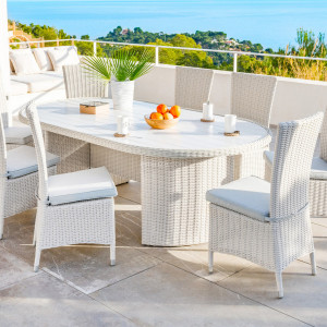 Table de jardin ovale Calvi - Blanc