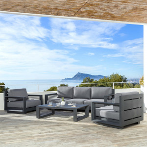 Salon de jardin Elba Gris anthracite - 5 places