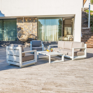 Salon de jardin Elba Blanc/Taupe - 5 places
