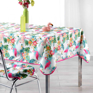 Nappe rectangulaire (L240 cm) Flamingo Beach Blanche