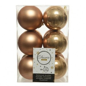 Lot de 12 boules de Noël (D60 mm) Alpine Camel
