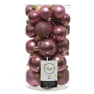 Lot de 30 boules de Noël assorties Alpine Vieux rose
