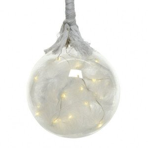 Suspension lumineuse Boule corde Blanc