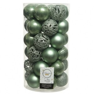 Lot de 37 boules de Noël (D60 mm) Alpine Mix Vert sauge