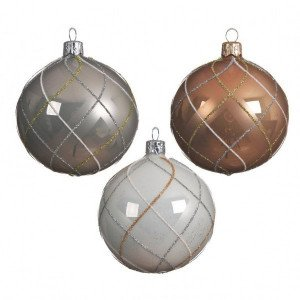 Lot de 6 boules de Noël (D80 mm) Carreaux Blanc/Camel/ Gris