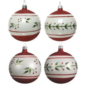 Lot de 4 boules de Noël (D100 mm) Vegetalia Blanc