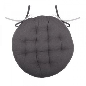 Coussin de chaise rond Duo Gris anthracite