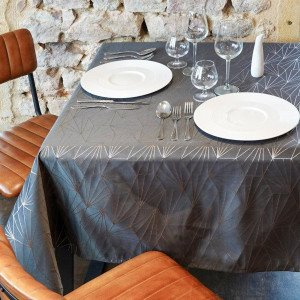 Nappe rectangulaire (L240 cm) Facette Gris anthracite