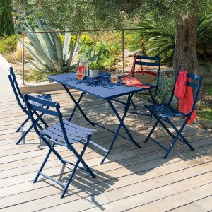 Table de jardin rectangulaire pliante Métal Greensboro (110 x 70 cm) - Indigo