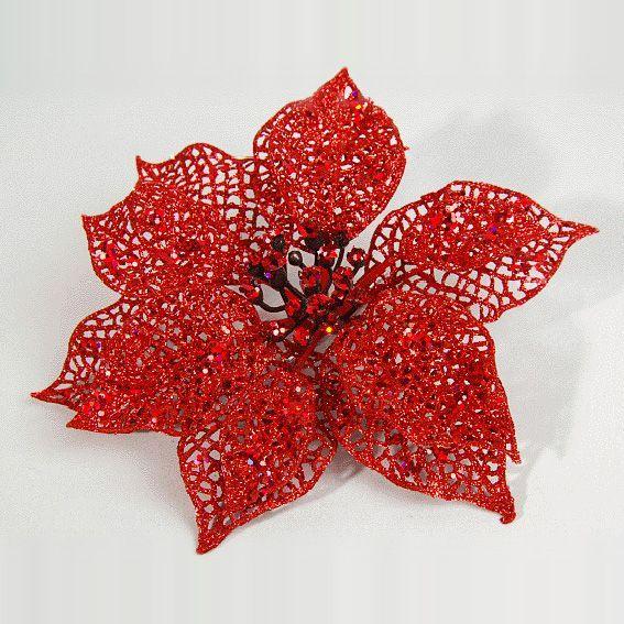 fleur de no l poinsettia rouge couronne et branche eminza. Black Bedroom Furniture Sets. Home Design Ideas