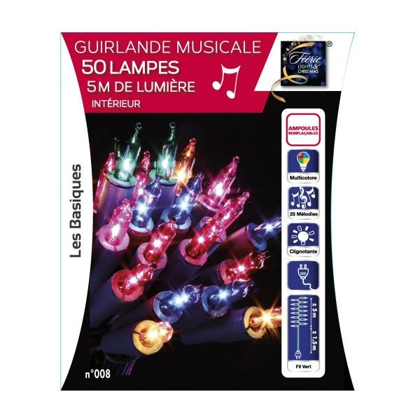 guirlande lumineuse musicale multicouleur 50 ampoules. Black Bedroom Furniture Sets. Home Design Ideas