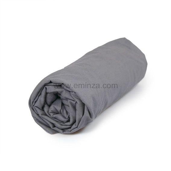 drap housse coton 160 cm uni gris souris drap housse eminza. Black Bedroom Furniture Sets. Home Design Ideas