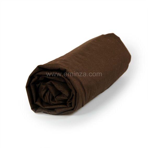 drap housse coton 160 cm uni cacao drap housse eminza. Black Bedroom Furniture Sets. Home Design Ideas