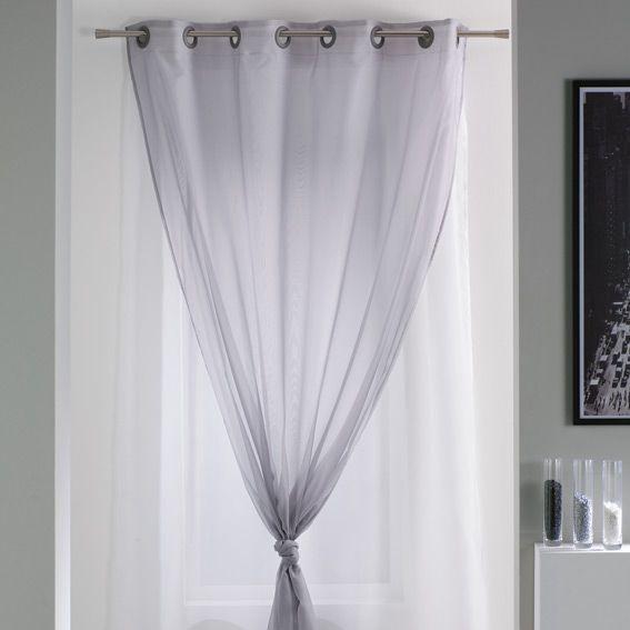 voilage oeillets double uni gris et blanc eminza. Black Bedroom Furniture Sets. Home Design Ideas